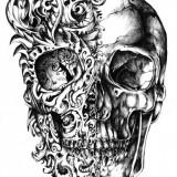 Эскизы татуировок животных и черепа