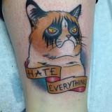 Татуировка грустного кота
