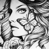Черно-белые эскизы девушек — 6 фото