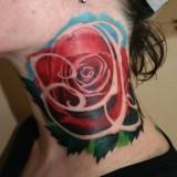 Тату: роза на женской шее — 6 фото