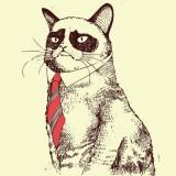 Цветной эскиз грустного кота