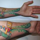 Барт Симпсон на руке в виде тату