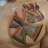 Медаль на груди в виде татуировки