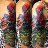 Спайдермен и Халк на татуировке