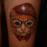 Тату: кот в очках