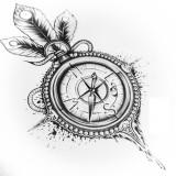 Эскизы татуировок компаса (5 фото)