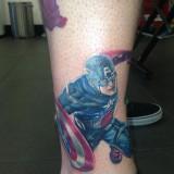 Тату: Капитан Америка на ноге