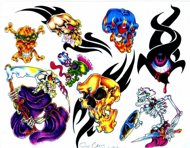 рисунки татуировок череп