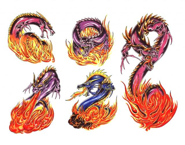 эскизы татуировок дракона