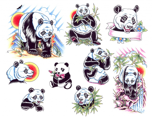 эскизы татуировок панда