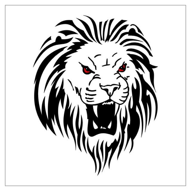 эскизы тату черно-белые лев