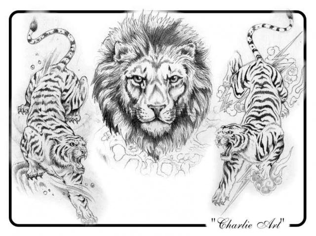 татуировка лев и тигр