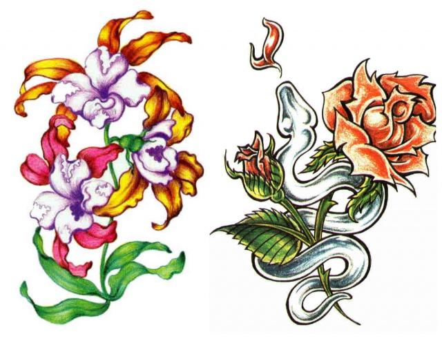 татуировки эскизы цветов (1)
