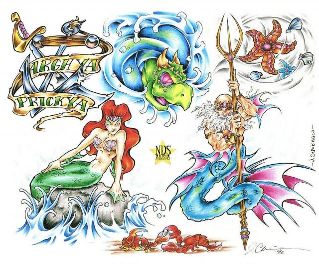 рисунки татуировок русалка