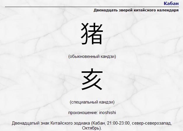 китайский календарь кабан