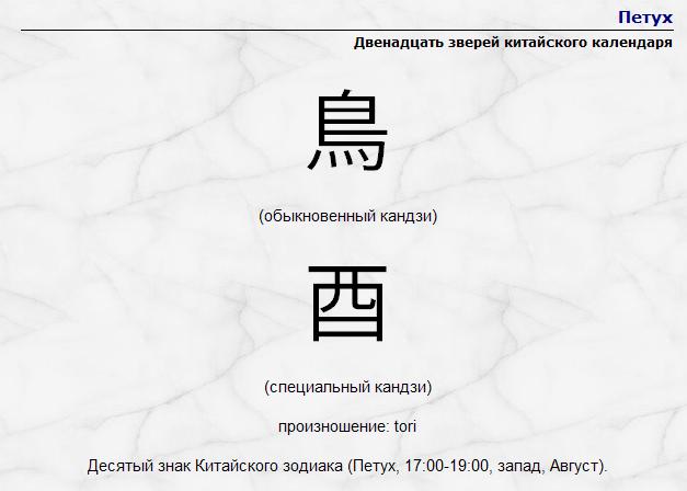 китайский календарь петух