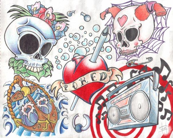 Цветные эскизы татуировок  (17)