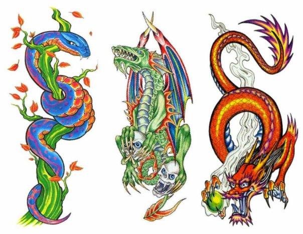 Цветные эскизы татуировок  (16)