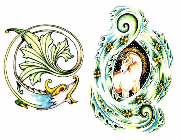 Цветные эскизы татуировок  (15)