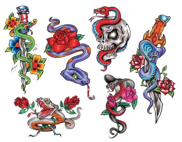 Цветные эскизы татуировок  (12)
