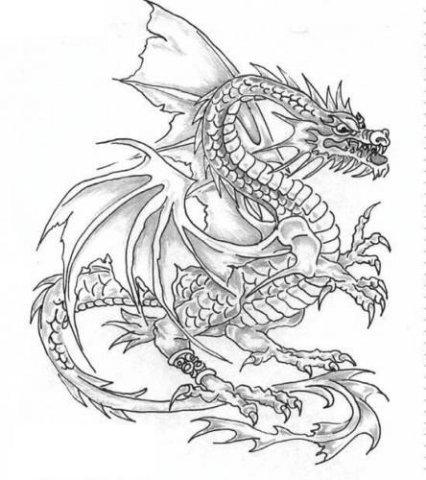 эскиз татуировка дракона