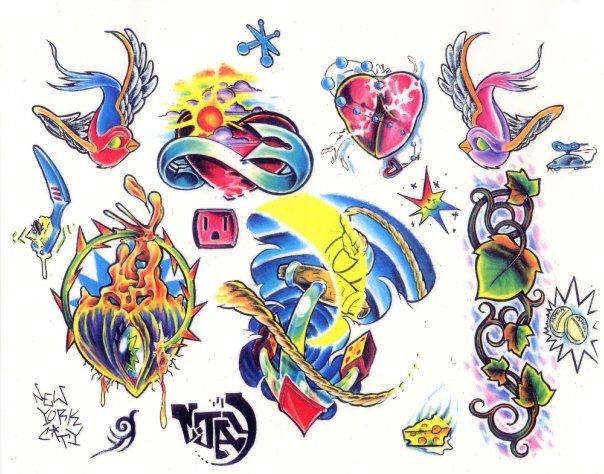 Цветные эскизы татуировок  (3)