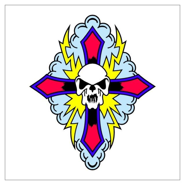 тату крест череп