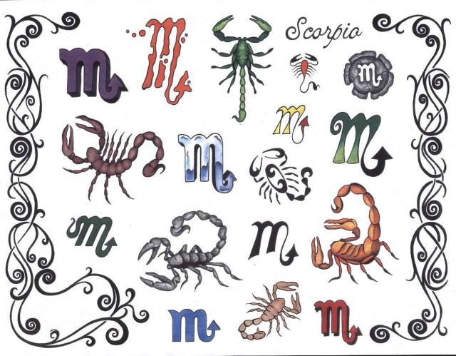 тату с иероглифами и знаком зодиака