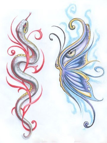 татуировка в виде бабочки