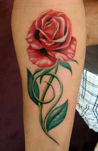 Татуировки и эскизы розы (24)