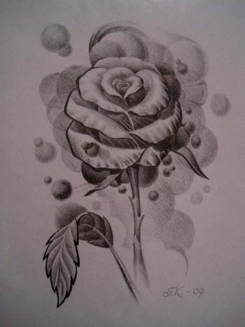 Татуировки и эскизы розы (12)