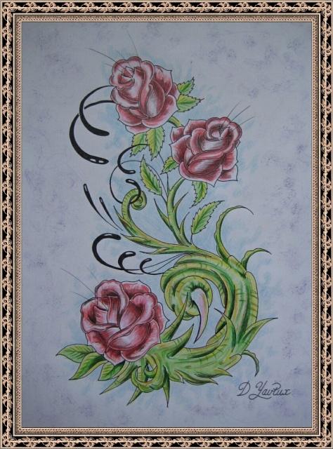 Татуировки и эскизы розы (9)