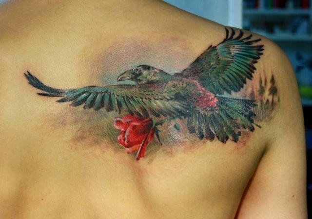 Ворон татуировка (1)