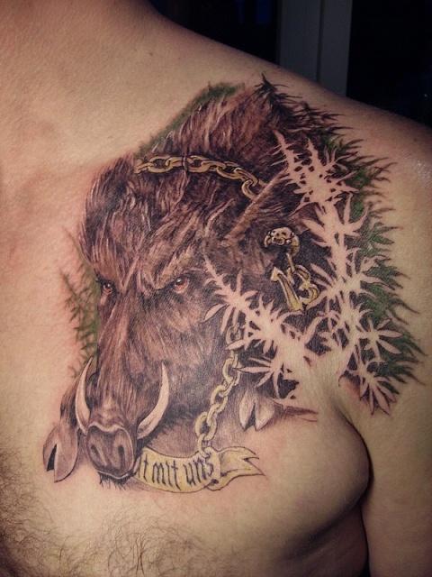 татуировка эскиз кабан (7)