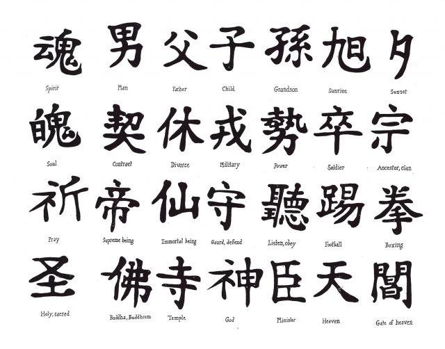 японские татуировки иероглифы (2)