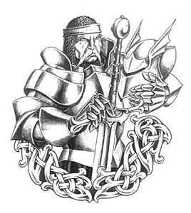 Черно белый эскиз рыцаря