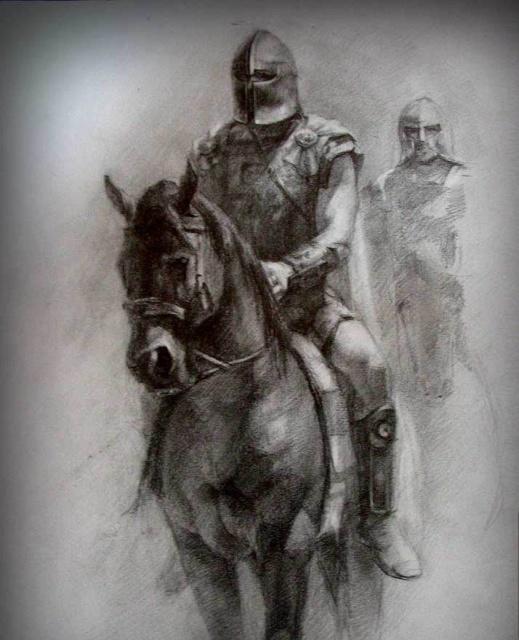 Татуировка эскиз - рыцари на лошадях