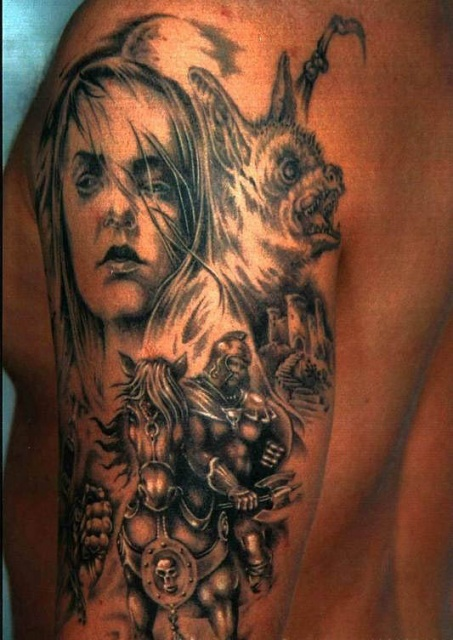 Татуировка рыцаря на руке