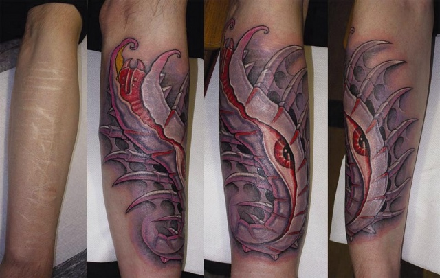 татуировки биомеханика на руке до и после