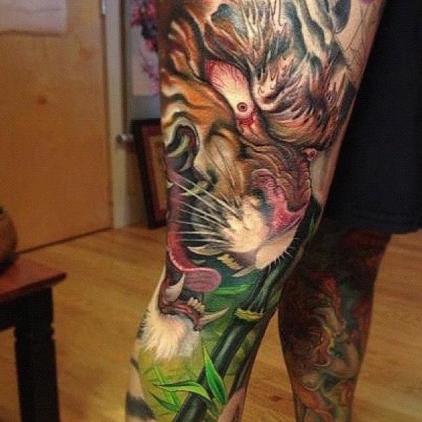 Тигр на мужской ноге