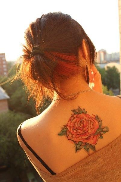 Красивые роза на женской спине