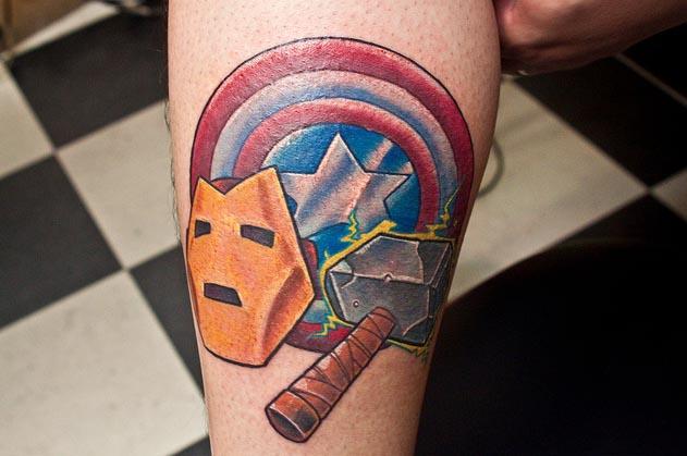 татуировки комиксы: Капитан Америка и Железный человек (16)
