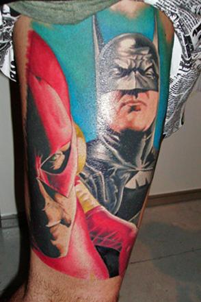 татуировки комиксы: Бэтмен и Капитан Америка (38)