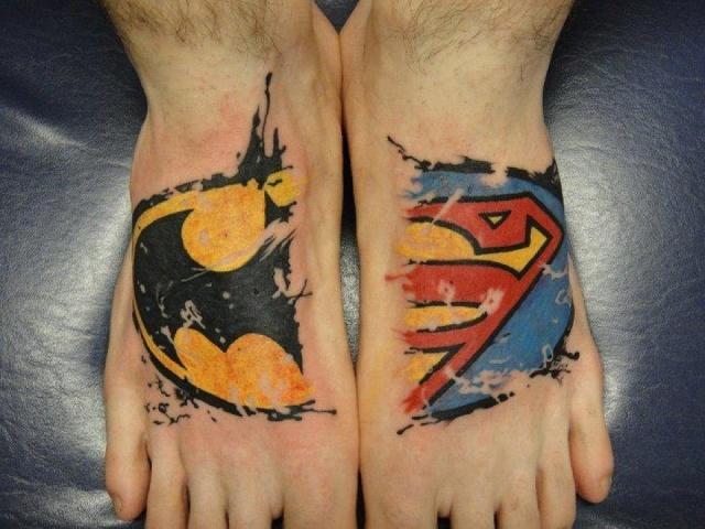 татуировки комиксы: Бэтмен и Супермен (8)