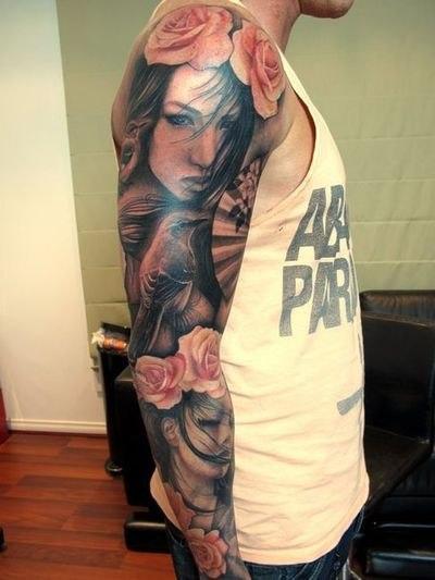 татуировки-женские портреты на руке
