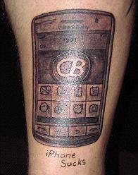 Татушки мобильного телефона на ноге
