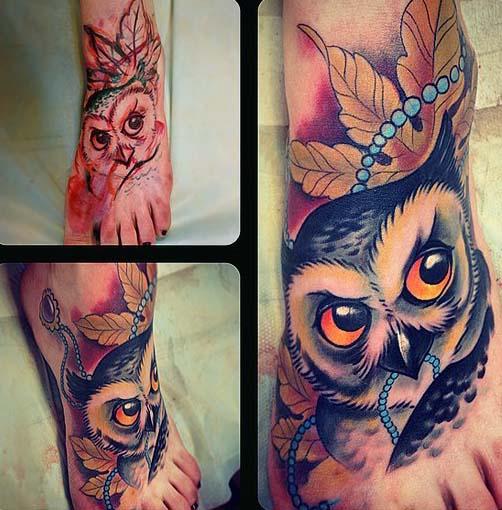 татуировки совы на ноге (3)