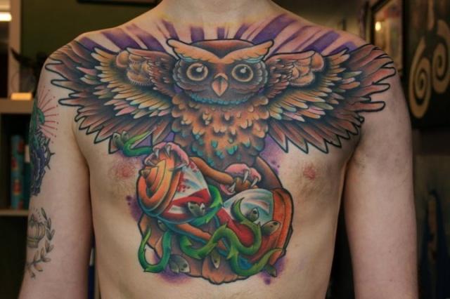 татуировка совы на груди (13)