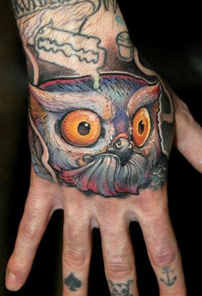 татуировка совы на руке (10)