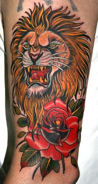Татуировка розы и льва на ноге (2)